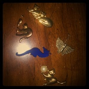 5 gold brooch pin set